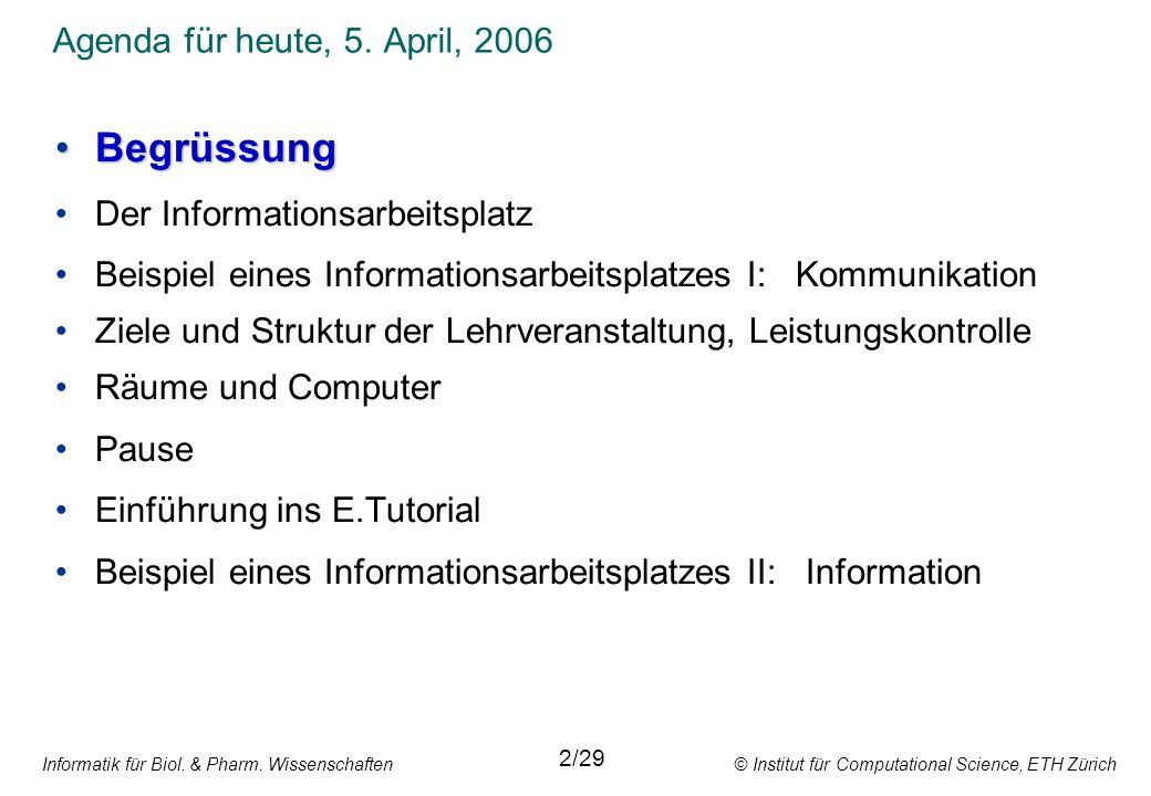 Informatik für Biol.& Pharm.