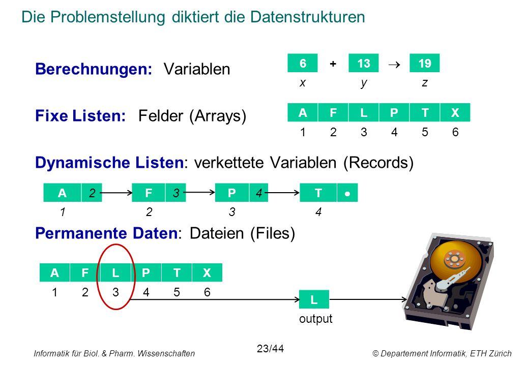 Die Problemstellung diktiert die Datenstrukturen 23/44 Berechnungen:Variablen Fixe Listen:Felder (Arrays) Dynamische Listen: verkettete Variablen (Records) Permanente Daten:Dateien (Files) AFLPTX 6+13 19 xyz 123456 A2F3P4T 1234 AFLPTX 123456 L output Informatik für Biol.