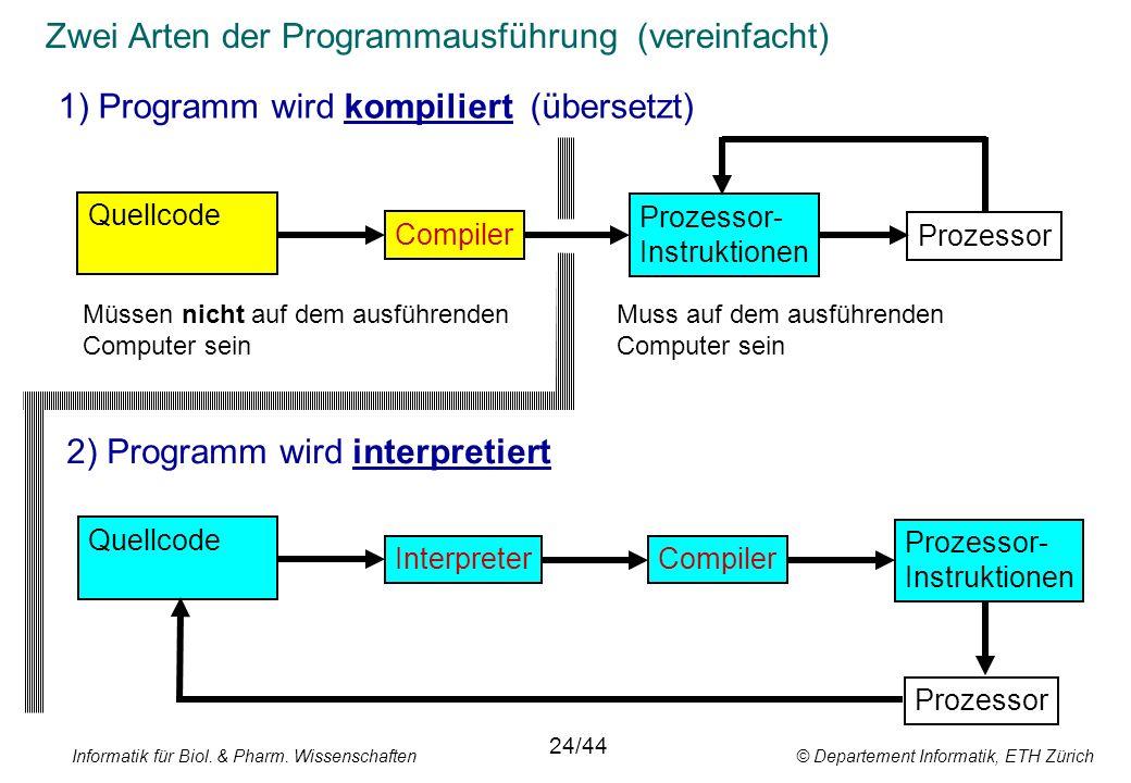 Zwei Arten der Programmausführung (vereinfacht) 1) Programm wird kompiliert (übersetzt) 2) Programm wird interpretiert Prozessor- Instruktionen Compiler Quellcode Interpreter Quellcode Prozessor- Instruktionen Prozessor Compiler Prozessor Müssen nicht auf dem ausführenden Computer sein 24/44 Muss auf dem ausführenden Computer sein Informatik für Biol.