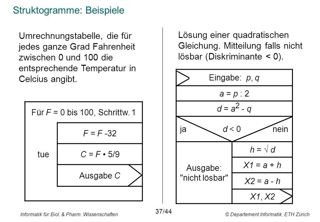 Struktogramme: Beispiele Für F = 0 bis 100, Schrittw.