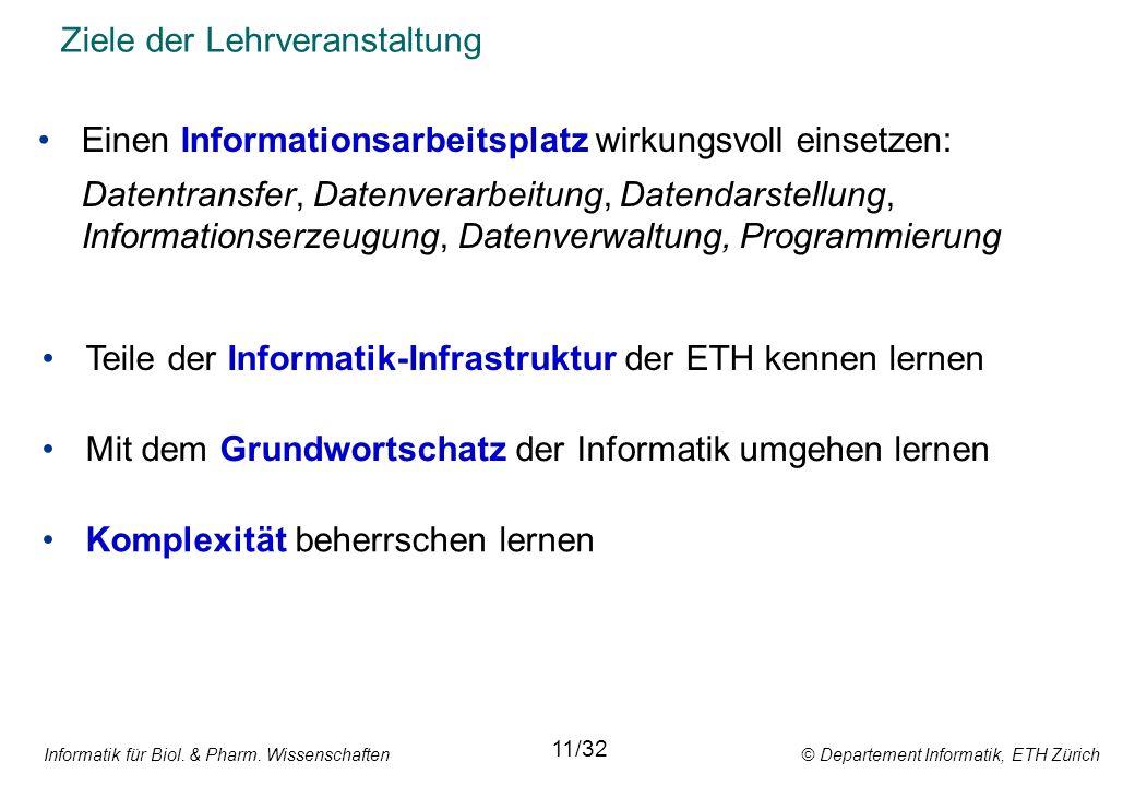 Informatik für Biol. & Pharm. Wissenschaften © Departement Informatik, ETH Zürich Ziele der Lehrveranstaltung Einen Informationsarbeitsplatz wirkungsv