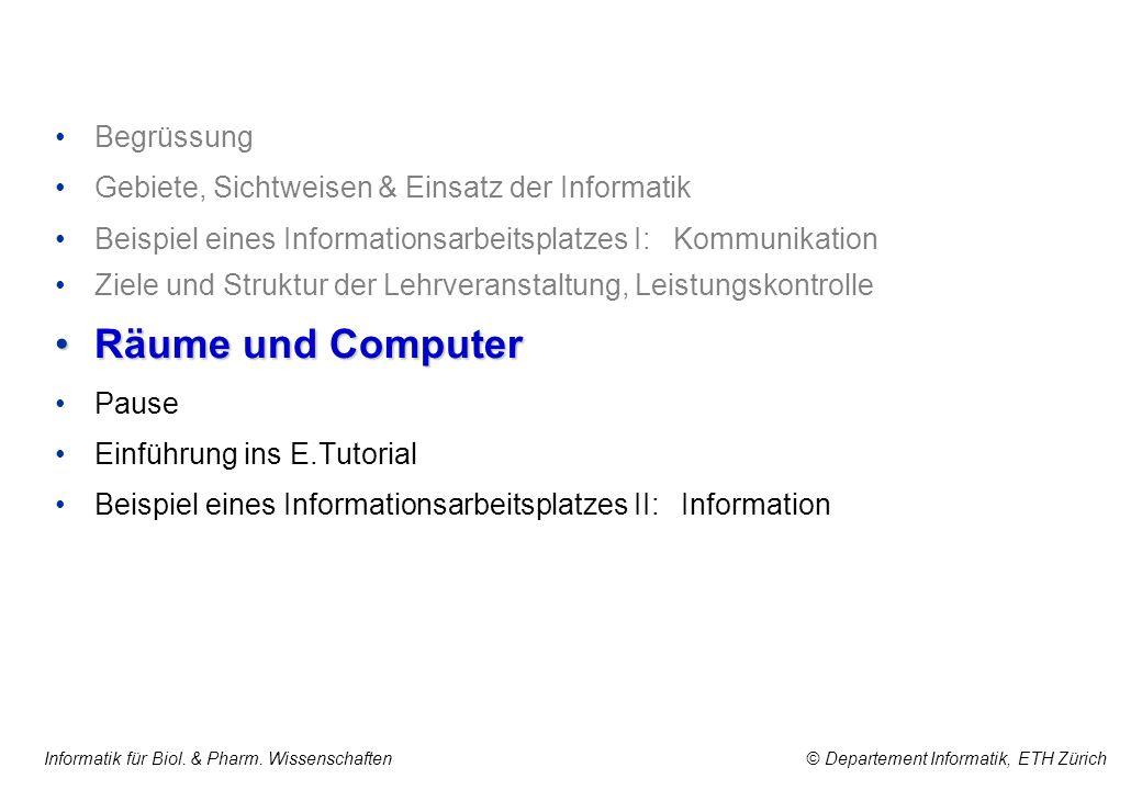 Informatik für Biol. & Pharm. Wissenschaften © Departement Informatik, ETH Zürich Begrüssung Gebiete, Sichtweisen & Einsatz der Informatik Beispiel ei