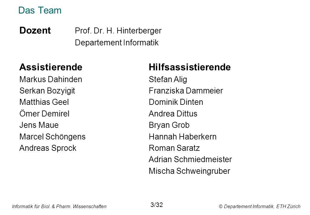 Informatik für Biol. & Pharm. Wissenschaften © Departement Informatik, ETH Zürich Das Team Dozent Prof. Dr. H. Hinterberger Departement Informatik Ass