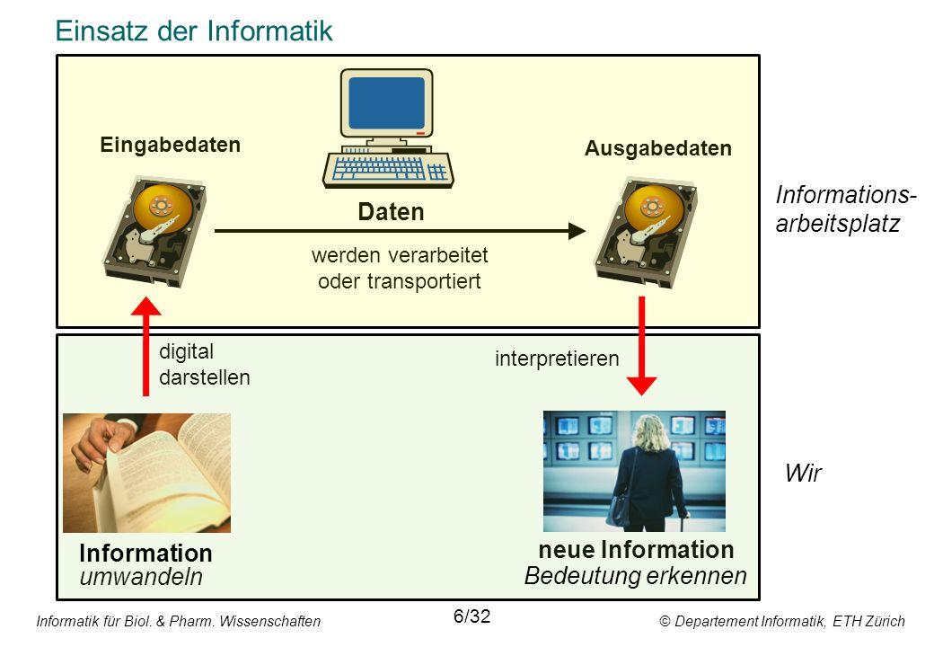 Informatik für Biol. & Pharm. Wissenschaften © Departement Informatik, ETH Zürich Einsatz der Informatik Daten umwandeln 6/32 werden verarbeitet oder