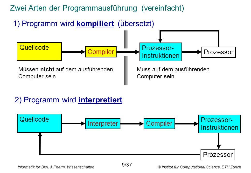 Informatik für Biol. & Pharm. Wissenschaften © Institut für Computational Science, ETH Zürich Zwei Arten der Programmausführung (vereinfacht) 1) Progr