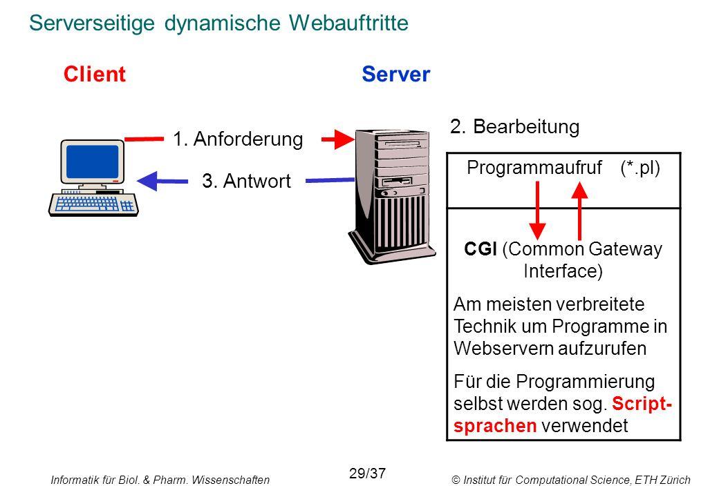 Informatik für Biol. & Pharm. Wissenschaften © Institut für Computational Science, ETH Zürich Serverseitige dynamische Webauftritte ClientServer 1. An