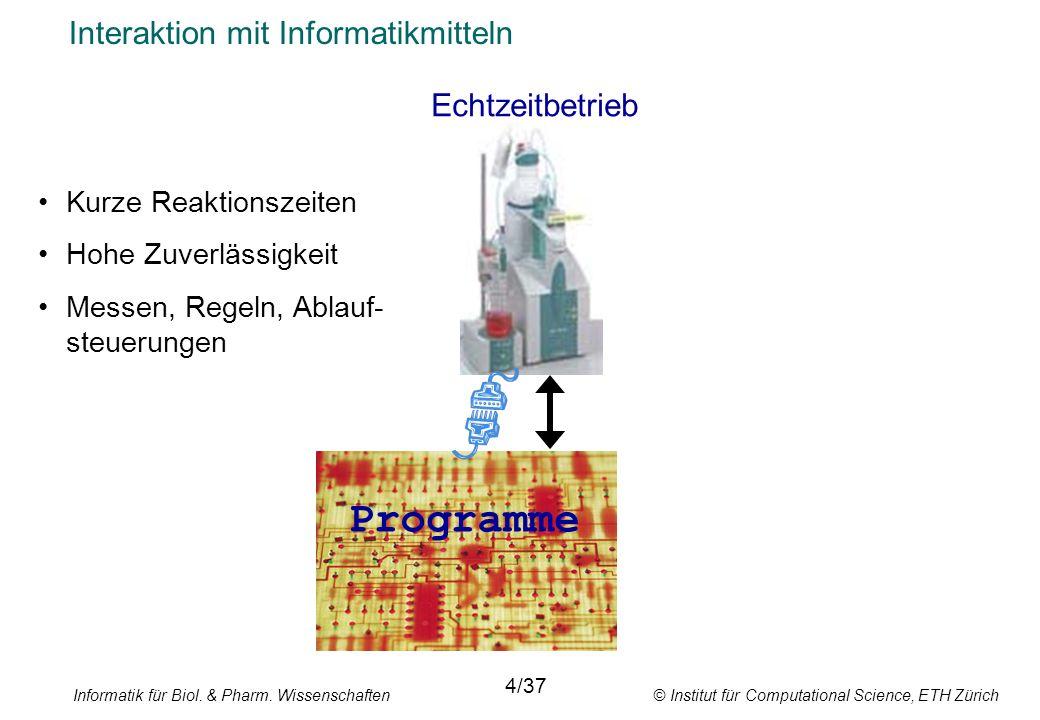 Informatik für Biol. & Pharm. Wissenschaften © Institut für Computational Science, ETH Zürich Interaktion mit Informatikmitteln Echtzeitbetrieb 4/37 K