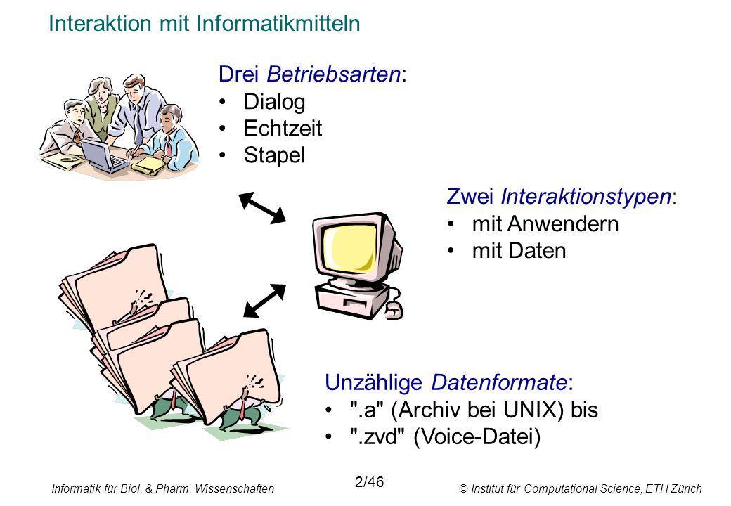 Informatik für Biol. & Pharm. Wissenschaften © Institut für Computational Science, ETH Zürich Interaktion mit Informatikmitteln Drei Betriebsarten: Di