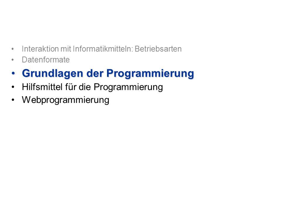Interaktion mit Informatikmitteln: Betriebsarten Datenformate Grundlagen der ProgrammierungGrundlagen der Programmierung Hilfsmittel für die Programmierung Webprogrammierung