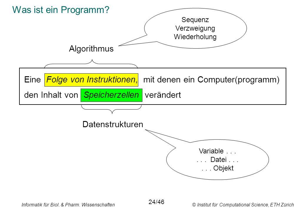Informatik für Biol. & Pharm. Wissenschaften © Institut für Computational Science, ETH Zürich Was ist ein Programm? Eine Folge von Instruktionen, mit