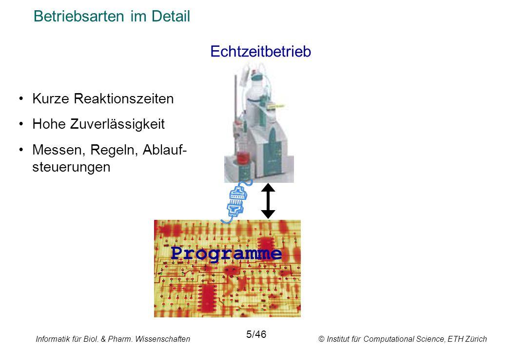 Informatik für Biol. & Pharm. Wissenschaften © Institut für Computational Science, ETH Zürich Betriebsarten im Detail Echtzeitbetrieb 5/46 Kurze Reakt