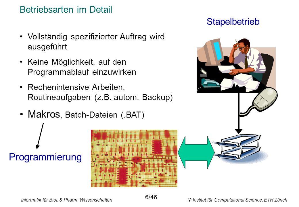 Informatik für Biol. & Pharm. Wissenschaften © Institut für Computational Science, ETH Zürich Betriebsarten im Detail Stapelbetrieb 6/46 Vollständig s