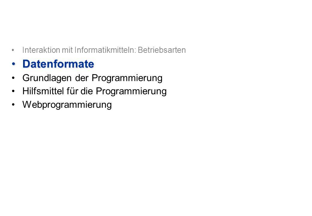 Interaktion mit Informatikmitteln: Betriebsarten DatenformateDatenformate Grundlagen der Programmierung Hilfsmittel für die Programmierung Webprogrammierung