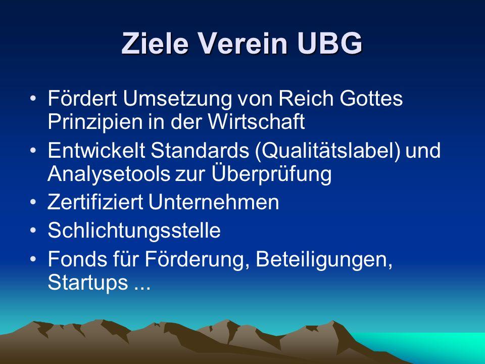 Ziele Verein UBG Fördert Umsetzung von Reich Gottes Prinzipien in der Wirtschaft Entwickelt Standards (Qualitätslabel) und Analysetools zur Überprüfung Zertifiziert Unternehmen Schlichtungsstelle Fonds für Förderung, Beteiligungen, Startups...