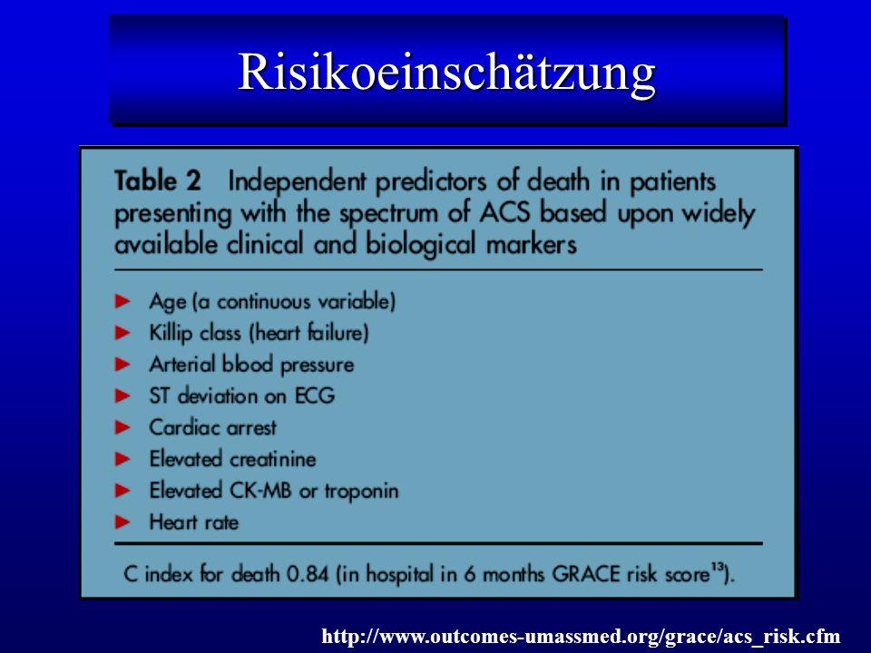 RisikoeinschätzungRisikoeinschätzung http://www.outcomes-umassmed.org/grace/acs_risk.cfm