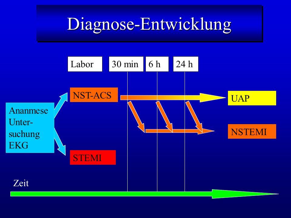 Diagnose-EntwicklungDiagnose-Entwicklung Ananmese Unter- suchung EKG STEMI NST-ACS NSTEMI UAP Zeit 30 min6 h24 hLabor