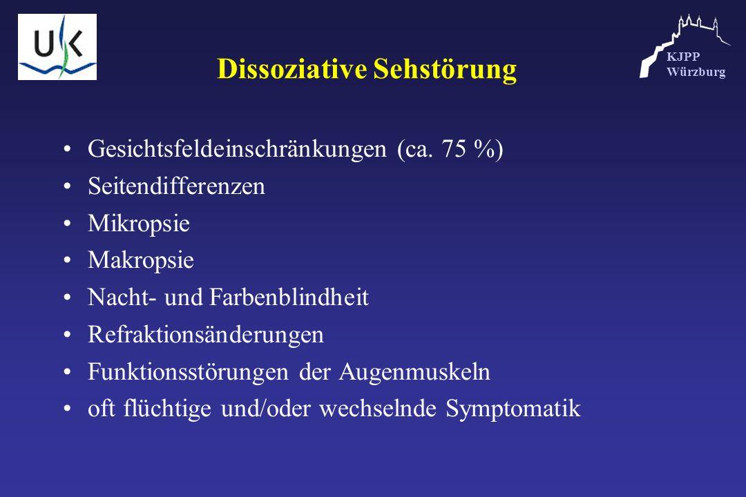 KJPP Würzburg Dissoziative Sehstörung Gesichtsfeldeinschränkungen (ca. 75 %) Seitendifferenzen Mikropsie Makropsie Nacht- und Farbenblindheit Refrakti