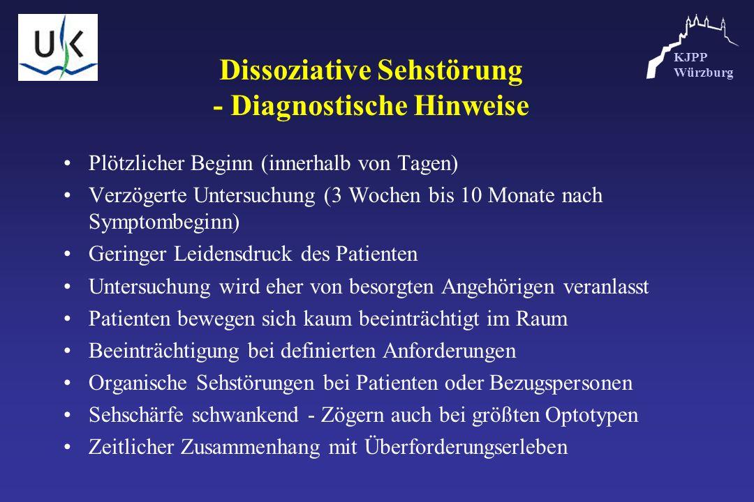 KJPP Würzburg Dissoziative Sehstörung - Diagnostische Hinweise Plötzlicher Beginn (innerhalb von Tagen) Verzögerte Untersuchung (3 Wochen bis 10 Monat