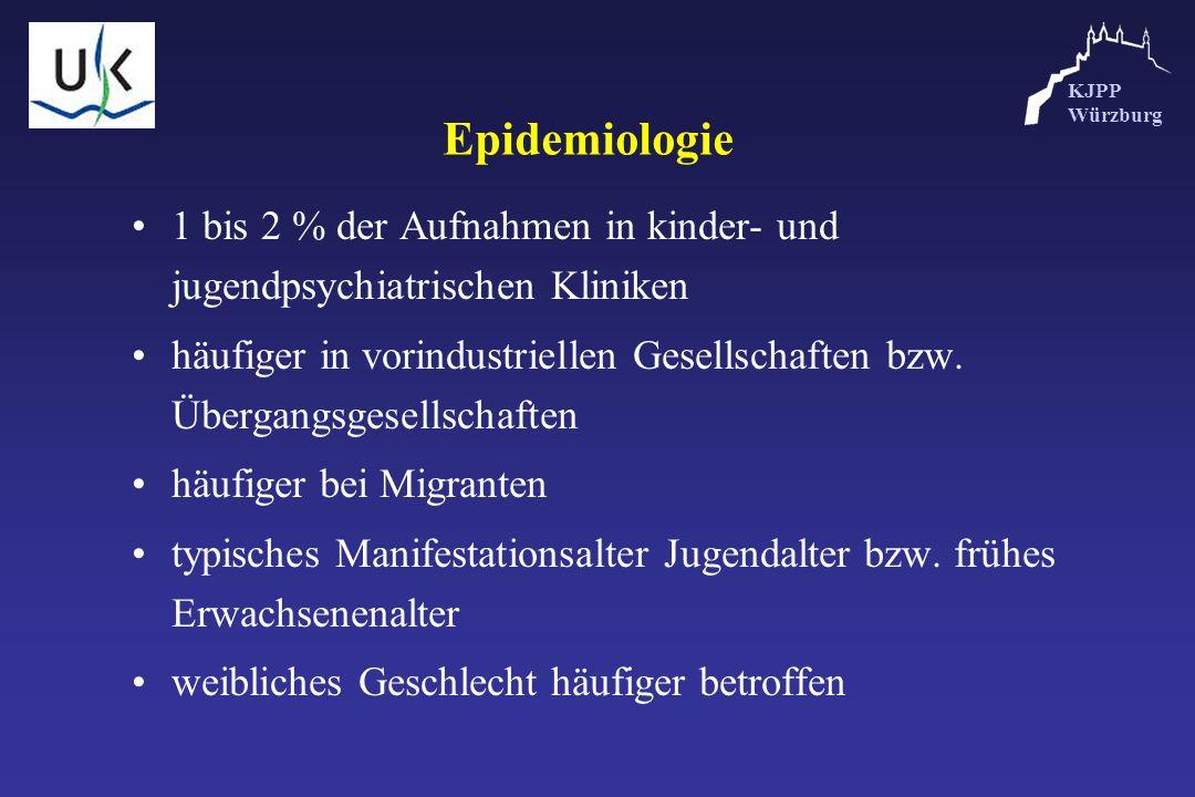 KJPP Würzburg Epidemiologie 1 bis 2 % der Aufnahmen in kinder- und jugendpsychiatrischen Kliniken häufiger in vorindustriellen Gesellschaften bzw. Übe