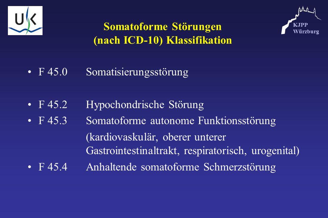 KJPP Würzburg Somatoforme Störungen (nach ICD-10) Klassifikation F 45.0Somatisierungsstörung F 45.2Hypochondrische Störung F 45.3Somatoforme autonome