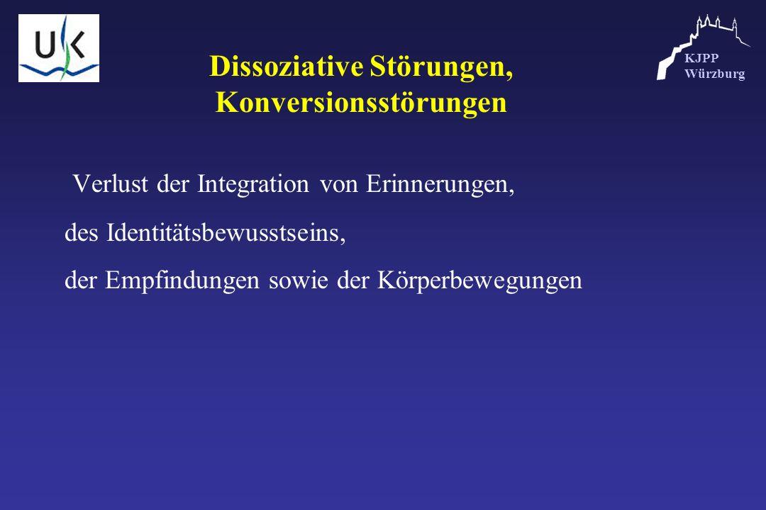 KJPP Würzburg Dissoziative Störungen, Konversionsstörungen Verlust der Integration von Erinnerungen, des Identitätsbewusstseins, der Empfindungen sowi