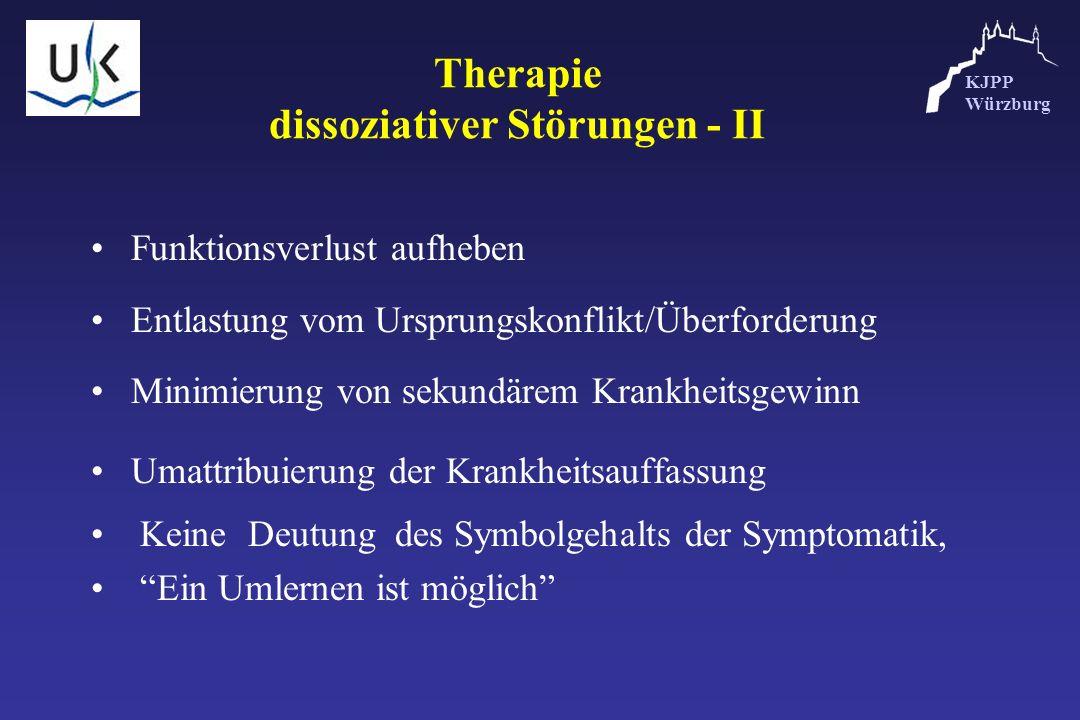 KJPP Würzburg Therapie dissoziativer Störungen - II Funktionsverlust aufheben Entlastung vom Ursprungskonflikt/Überforderung Minimierung von sekundäre