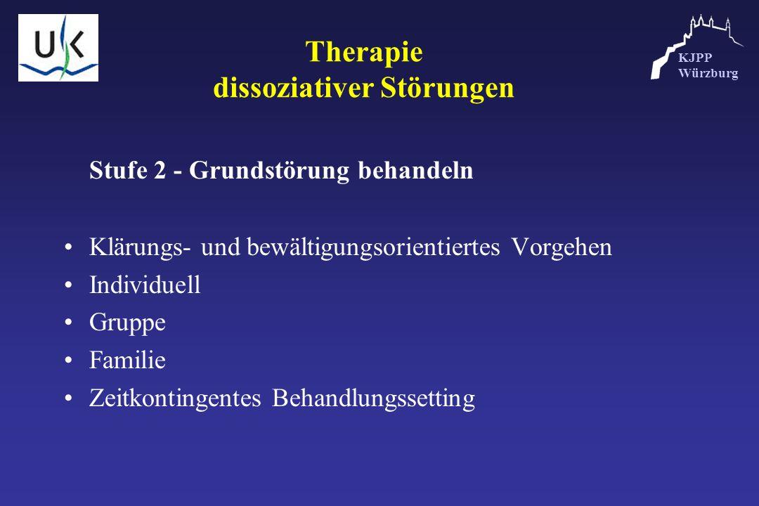 KJPP Würzburg Therapie dissoziativer Störungen Stufe 2 - Grundstörung behandeln Klärungs- und bewältigungsorientiertes Vorgehen Individuell Gruppe Fam