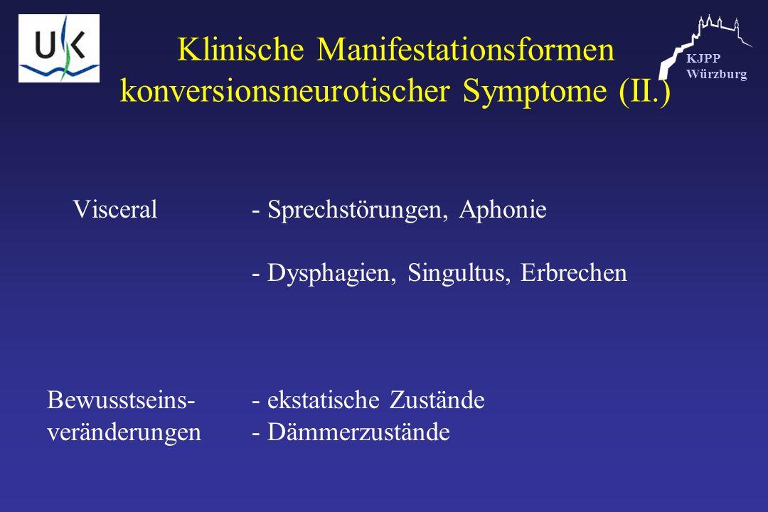 KJPP Würzburg Klinische Manifestationsformen konversionsneurotischer Symptome (II.) Visceral- Sprechstörungen, Aphonie - Dysphagien, Singultus, Erbrec