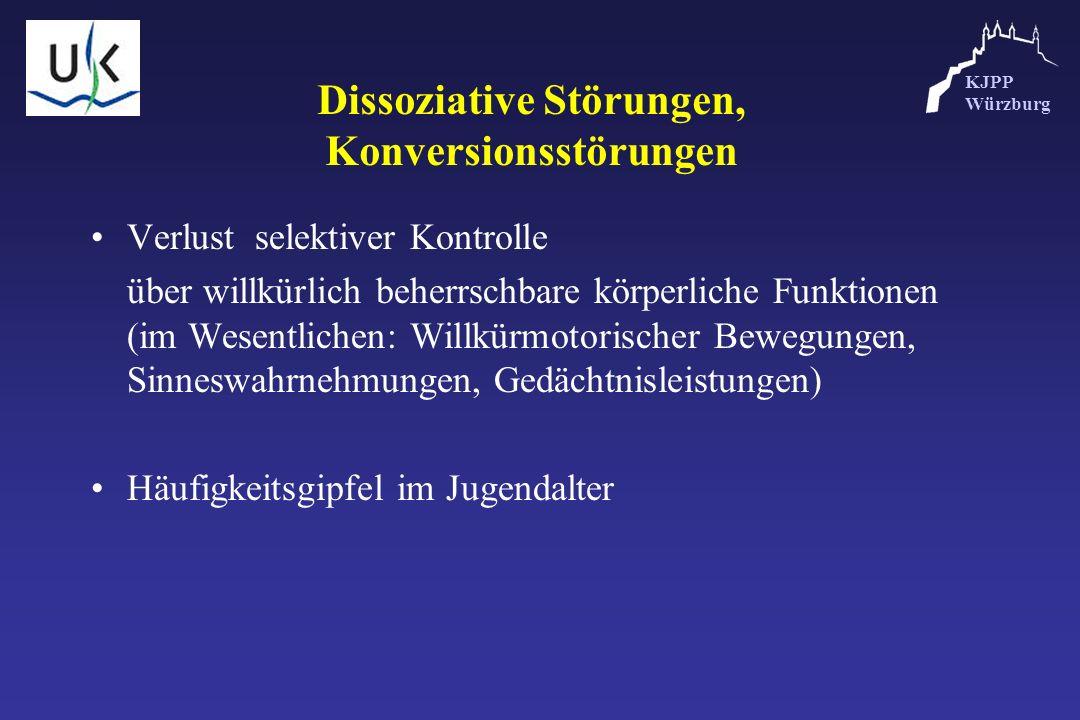 KJPP Würzburg Dissoziative Störungen, Konversionsstörungen Verlust selektiver Kontrolle über willkürlich beherrschbare körperliche Funktionen (im Wese
