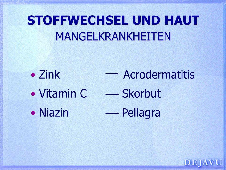 STOFFWECHSEL UND HAUT ZINKMANGEL Acrodermatitis enteropathica - rezessiv erbliche Zinkresorptionsstörung Erworbener Zinkmangel - Alkoholismus (Fehlernährung) - Malabsorption (z.B.