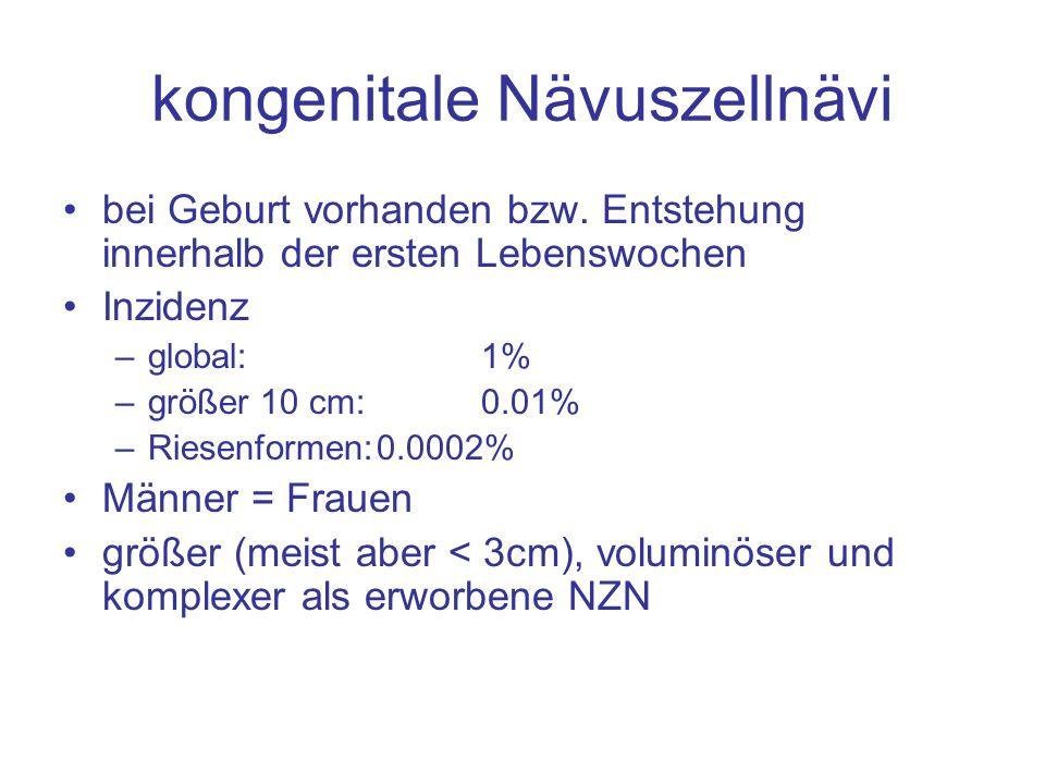 kongenitale Nävuszellnävi bei Geburt vorhanden bzw. Entstehung innerhalb der ersten Lebenswochen Inzidenz –global: 1% –größer 10 cm: 0.01% –Riesenform