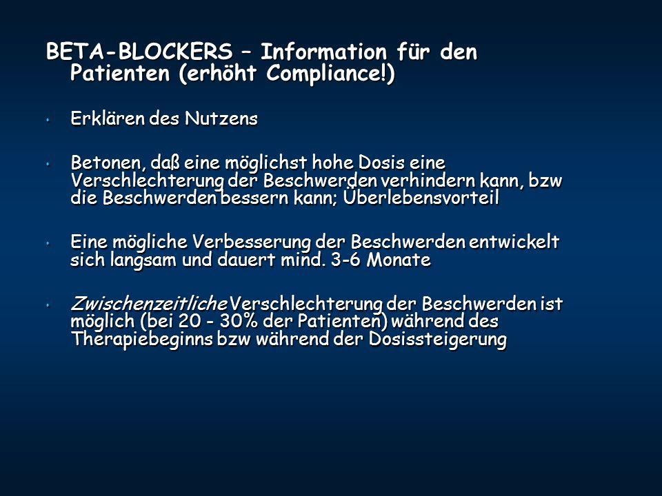 BETA-BLOCKERS – Information für den Patienten (erhöht Compliance!) Erklären des Nutzens Erklären des Nutzens Betonen, daß eine möglichst hohe Dosis ei