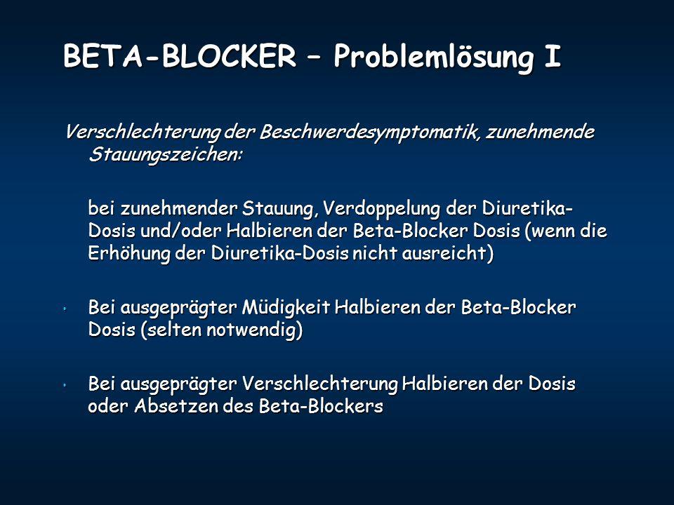 BETA-BLOCKER – Problemlösung I Verschlechterung der Beschwerdesymptomatik, zunehmende Stauungszeichen: bei zunehmender Stauung, Verdoppelung der Diure