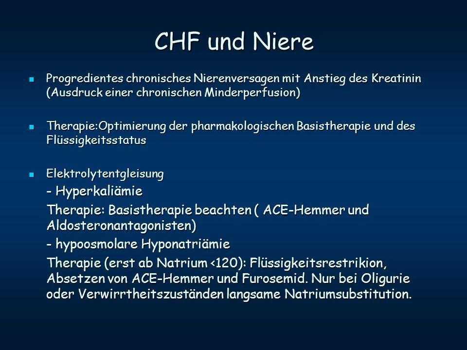 CHF und Niere Progredientes chronisches Nierenversagen mit Anstieg des Kreatinin (Ausdruck einer chronischen Minderperfusion) Progredientes chronische