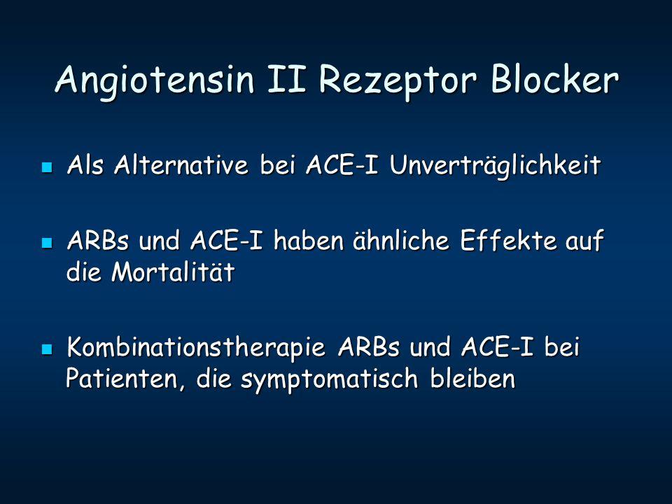 Angiotensin II Rezeptor Blocker Als Alternative bei ACE-I Unverträglichkeit Als Alternative bei ACE-I Unverträglichkeit ARBs und ACE-I haben ähnliche