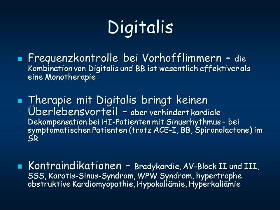 Digitalis Frequenzkontrolle bei Vorhofflimmern – die Kombination von Digitalis und BB ist wesentlich effektiver als eine Monotherapie Frequenzkontroll