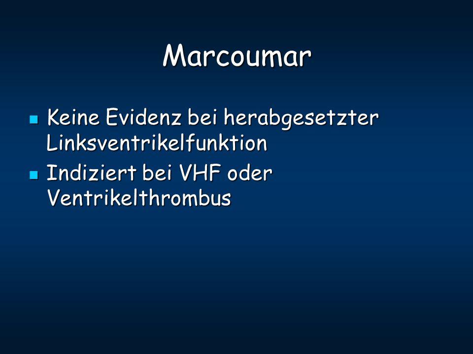 Marcoumar Keine Evidenz bei herabgesetzter Linksventrikelfunktion Keine Evidenz bei herabgesetzter Linksventrikelfunktion Indiziert bei VHF oder Ventr