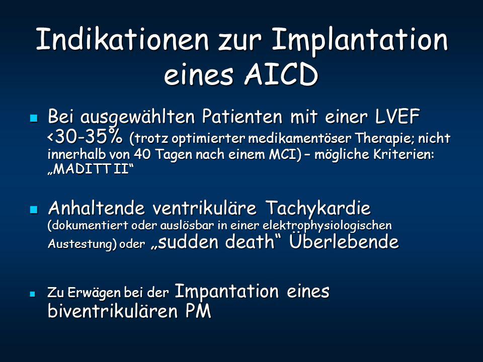 Indikationen zur Implantation eines AICD Bei ausgewählten Patienten mit einer LVEF <30-35% (trotz optimierter medikamentöser Therapie; nicht innerhalb