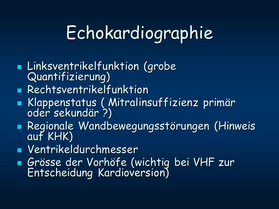 Echokardiographie Linksventrikelfunktion (grobe Quantifizierung) Linksventrikelfunktion (grobe Quantifizierung) Rechtsventrikelfunktion Rechtsventrike