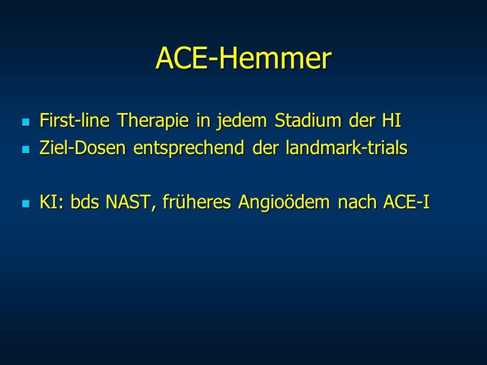 ACE-Hemmer First-line Therapie in jedem Stadium der HI First-line Therapie in jedem Stadium der HI Ziel-Dosen entsprechend der landmark-trials Ziel-Do
