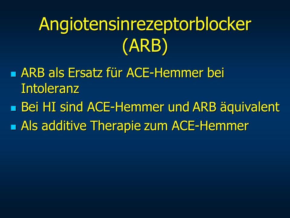 Angiotensinrezeptorblocker (ARB) ARB als Ersatz für ACE-Hemmer bei Intoleranz ARB als Ersatz für ACE-Hemmer bei Intoleranz Bei HI sind ACE-Hemmer und
