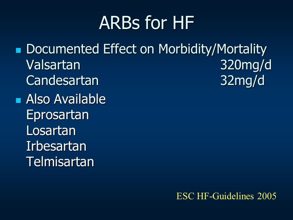 ARBs for HF Documented Effect on Morbidity/Mortality Valsartan320mg/d Candesartan32mg/d Documented Effect on Morbidity/Mortality Valsartan320mg/d Cand