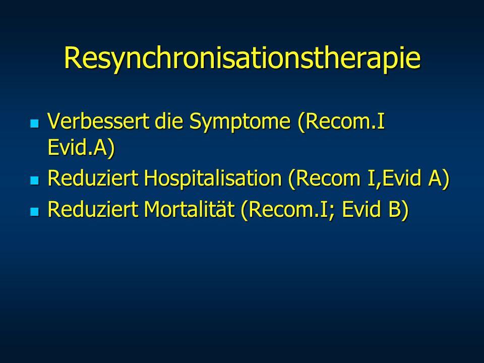 Resynchronisationstherapie Verbessert die Symptome (Recom.I Evid.A) Verbessert die Symptome (Recom.I Evid.A) Reduziert Hospitalisation (Recom I,Evid A