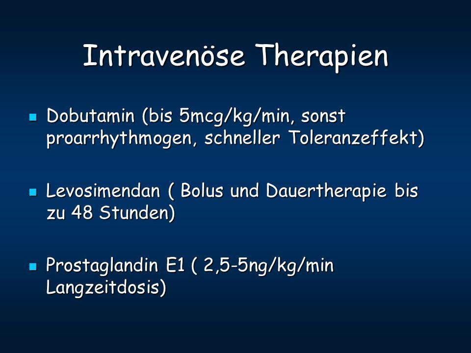Intravenöse Therapien Dobutamin (bis 5mcg/kg/min, sonst proarrhythmogen, schneller Toleranzeffekt) Dobutamin (bis 5mcg/kg/min, sonst proarrhythmogen,
