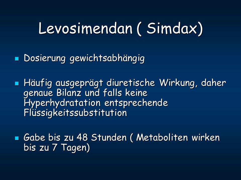 Levosimendan ( Simdax) Dosierung gewichtsabhängig Dosierung gewichtsabhängig Häufig ausgeprägt diuretische Wirkung, daher genaue Bilanz und falls kein