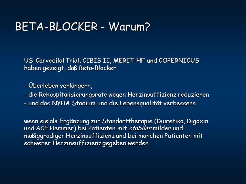 BETA-BLOCKER - Warum? US-Carvedilol Trial, CIBIS II, MERIT-HF und COPERNICUS haben gezeigt, daß Beta-Blocker - Überleben verlängern, - Überleben verlä