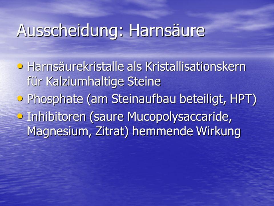 Ausscheidung: Harnsäure Harnsäurekristalle als Kristallisationskern für Kalziumhaltige Steine Harnsäurekristalle als Kristallisationskern für Kalziumhaltige Steine Phosphate (am Steinaufbau beteiligt, HPT) Phosphate (am Steinaufbau beteiligt, HPT) Inhibitoren (saure Mucopolysaccaride, Magnesium, Zitrat) hemmende Wirkung Inhibitoren (saure Mucopolysaccaride, Magnesium, Zitrat) hemmende Wirkung
