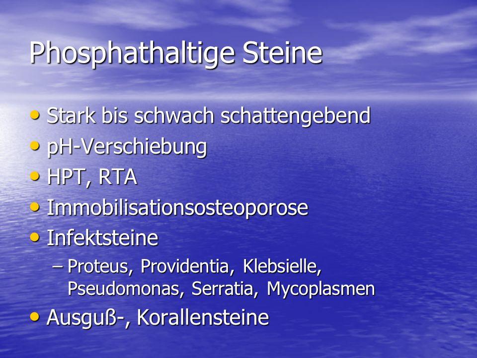Phosphathaltige Steine Stark bis schwach schattengebend Stark bis schwach schattengebend pH-Verschiebung pH-Verschiebung HPT, RTA HPT, RTA Immobilisationsosteoporose Immobilisationsosteoporose Infektsteine Infektsteine –Proteus, Providentia, Klebsielle, Pseudomonas, Serratia, Mycoplasmen Ausguß-, Korallensteine Ausguß-, Korallensteine
