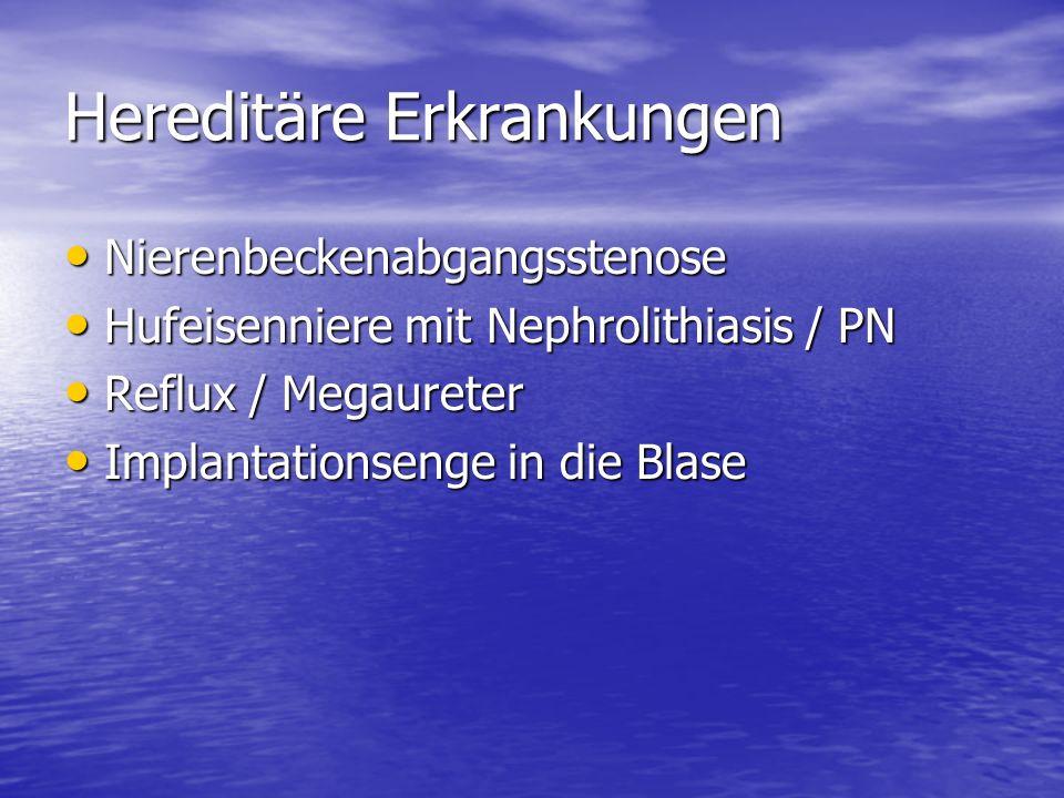 Hereditäre Erkrankungen Nierenbeckenabgangsstenose Nierenbeckenabgangsstenose Hufeisenniere mit Nephrolithiasis / PN Hufeisenniere mit Nephrolithiasis / PN Reflux / Megaureter Reflux / Megaureter Implantationsenge in die Blase Implantationsenge in die Blase