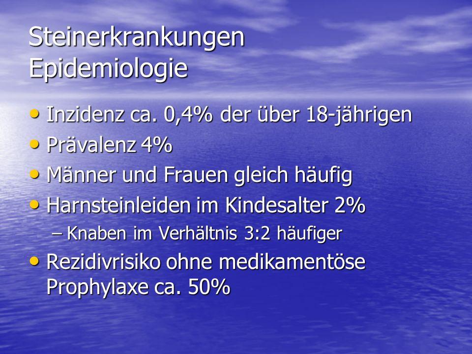 Steinerkrankungen Epidemiologie Inzidenz ca. 0,4% der über 18-jährigen Inzidenz ca. 0,4% der über 18-jährigen Prävalenz 4% Prävalenz 4% Männer und Fra